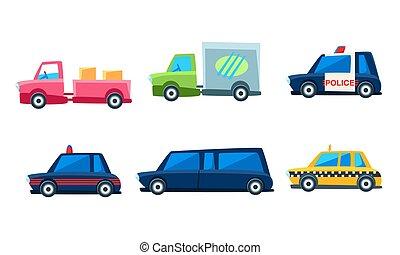 Cute City Transport Set, Colorful Childish Vehicles Vector Illustration