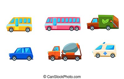Cute City Transport Set, Different Kind of Colorful Childish Vehicles Vector Illustration