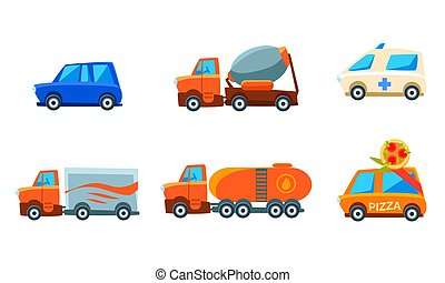 Cute City Transport Set, Urban Colorful Childish Vehicles, Vector Illustration