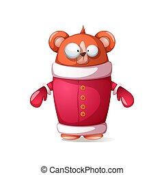 cute, claus., illustration., engraçado, -, urso, santa
