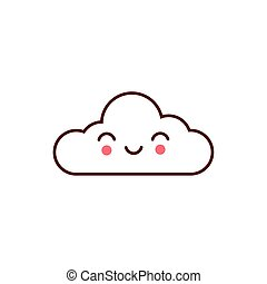 cute cloud kawaii comic character icon