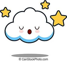 cute cloud kawaii face vector illustration design