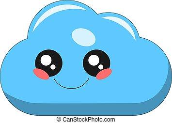 Cute cloud kawaii face vector illustration design isolated on white