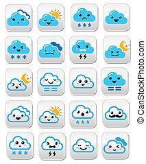 Cute cloud - Kawaii, Manga buttons - Funny cartoon buttons...