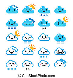 Funny cartoon icons set of clouds with sun, moon, snow and thunders isolated on white