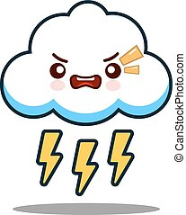 cute cloud lightning bolt kawaii face icon cartoon character Flat design Vector