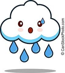 cute cloud rain kawaii face icon cartoon character Flat design Vector