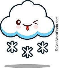 cute cloud snowflake kawaii face icon cartoon character Flat design Vector
