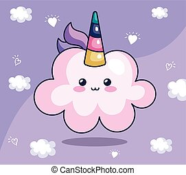 cute cloud unicorn kawaii style icon