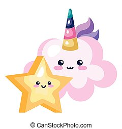 cute cloud unicorn with star kawaii style icon
