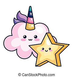 cute cloud unicorn with star kawaii style icon