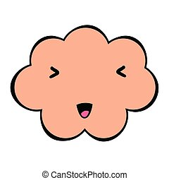 Cute cloud with a face. Colorful emotional icon isolated on white background. Comic and cartoon style.