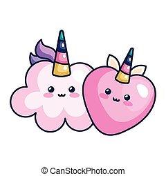 cute cloud with heart unicorn kawaii style icon