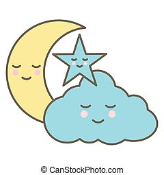 cute cloud with moon and star kawaii characters