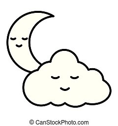 cute cloud with moon kawaii characters