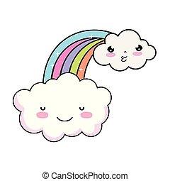 cute cloud with rainbow kawaii character
