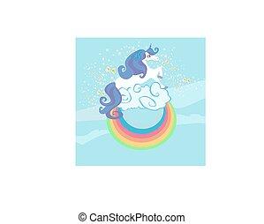 cute, clouds., card, enhjørning, regnbue