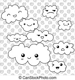 Cute Clouds coloring page