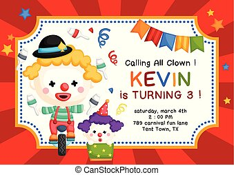 Cute Clown Theme Birthday Invitation - A Vector of Cute...