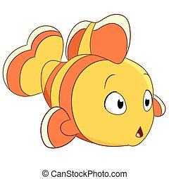cute little clownfish is wondering