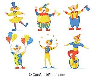 Cute clowns set