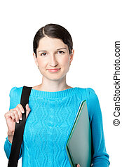Smiling girl dressed in blue sweater with folders for documents on white background