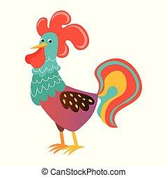 Cute cock cartoon on white board. Rooster portrait cartoon