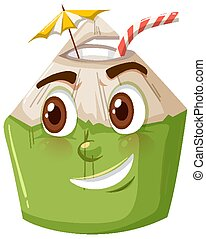 Cute coconut cartoon character with happy face expression on white background