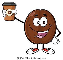 Cute Coffee Bean Character - Cute Coffee Bean Cartoon Mascot...