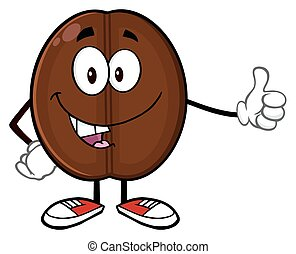 Cute Coffee Bean Mascot Character - Cute Coffee Bean Cartoon...