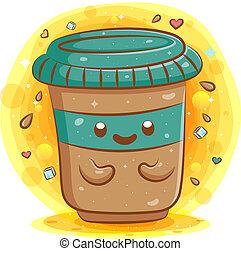 Cute coffee cup cartoon kawaii mascot character