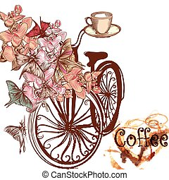 Cute coffee illustration with old-fashioned fake bicycle with basket fully of orchids and butterflies fly around it.eps