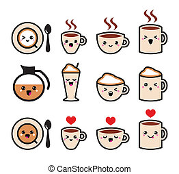 Cute coffee kawaii icons - Coffee icons set isolated on ...