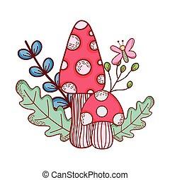 cute, cogumelos, folhas, borboleta, ramo, caricatura