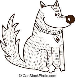 cute, colarinho, character., cão, coração