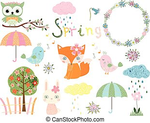 Cute collection for spring and summer with animals and design elements for greeting cards, invitations and scrapbooking