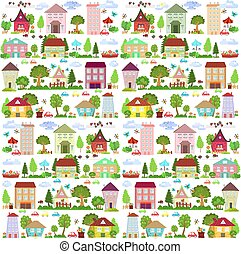 cute collection funny houses with trees for your design