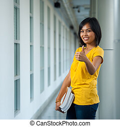 Cute College Student Thumbs Up Front - A cute happy college ...