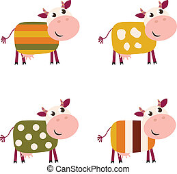 Vector collection of four happy creative Cow characters - isolated on white.