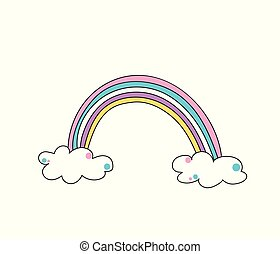 Cute color rainbow with clouds vector illustration isolated on white background