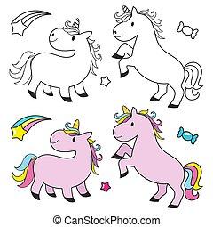 cute, coloração, crianças, jogo, unicórnio, livro