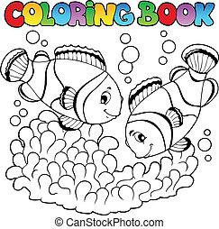 cute, coloração, dois, palhaço, livro, peixes