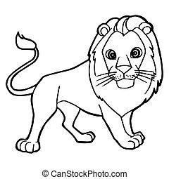 cute, coloração, ilustração, caricatura, leão, vetorial,...