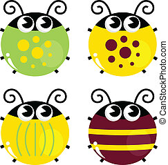 Cute colorful beetle set isolated on white