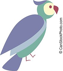 Cute colorful bird icon, flat illustration