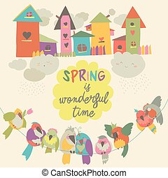 Cute colorful birds and birdhouses in spring