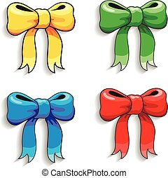 Cute  colorful bows set, isolated on white, vector