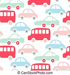 Cute colorful buses and cars seamless pattern wallpaper.