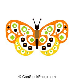 Cute colorful butterfly with open wings vector Illustration