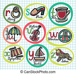 Cute colorful cartoon alphabet from R to Z
